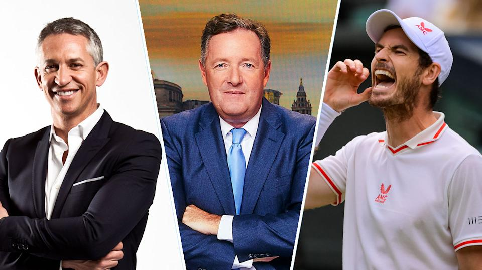 Piers Morgan's (centre) comments about Emma Raducanu provoked responses from Gary Lineker (left) and Andy Murray (right) - (BBC/ITV/Getty)