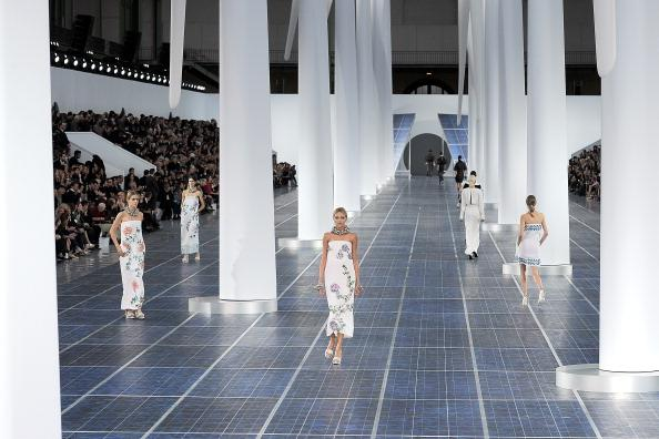 PARIS, FRANCE - OCTOBER 02:  Models walk the runway during the Chanel Spring / Summer 2013 show as part of Paris Fashion Week at Grand Palais on October 2, 2012 in Paris, France.  (Photo by Kristy Sparow/WireImage)