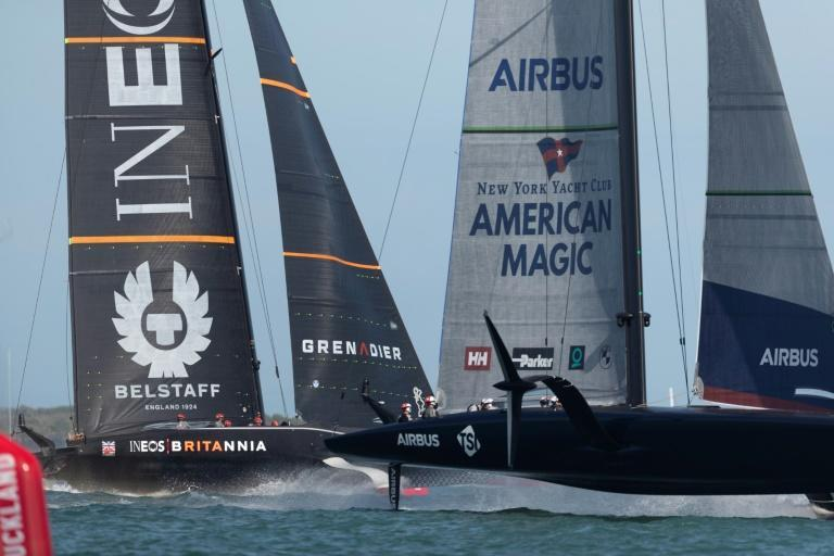 Ineos Team UK (left) and American Magic will compete in the Prada Cup alongside Italy's Luna Rossa from Friday for the right to challenge Team NZ for the America's Cup