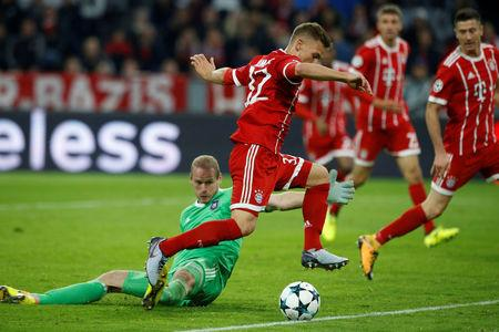 Soccer Football - Champions League - FC Bayern Munich vs RSC Anderlecht - Allianz Arena, Munich, Germany - September 12, 2017. Bayern Munich's Joshua Kimmich scores their third goal    REUTERS/Michaela Rehle