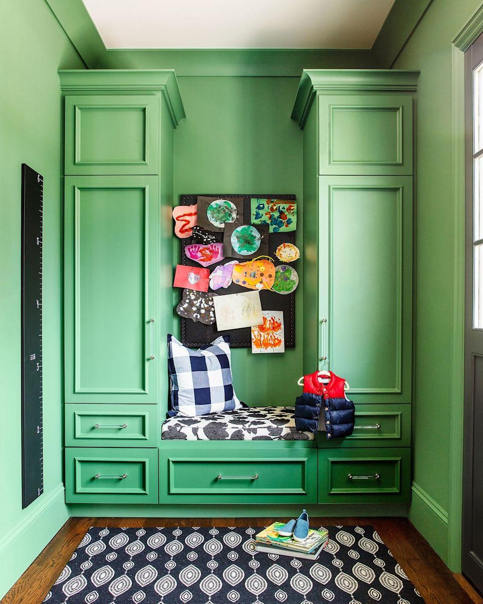 "<p>Make your mudroom a focal point rather than an eyesore with a few simple upgrades, like a bold paint color, a pegboard for your kids' latest artwork, and hidden storage for coats and shoes.</p><p><strong>RELATED:</strong> <a href=""https://www.goodhousekeeping.com/home/organizing/g25575495/mudroom-ideas/"" rel=""nofollow noopener"" target=""_blank"" data-ylk=""slk:20 Brilliant Mudroom Ideas That Are Stylish and Functional"" class=""link rapid-noclick-resp"">20 Brilliant Mudroom Ideas That Are Stylish and Functional</a></p>"