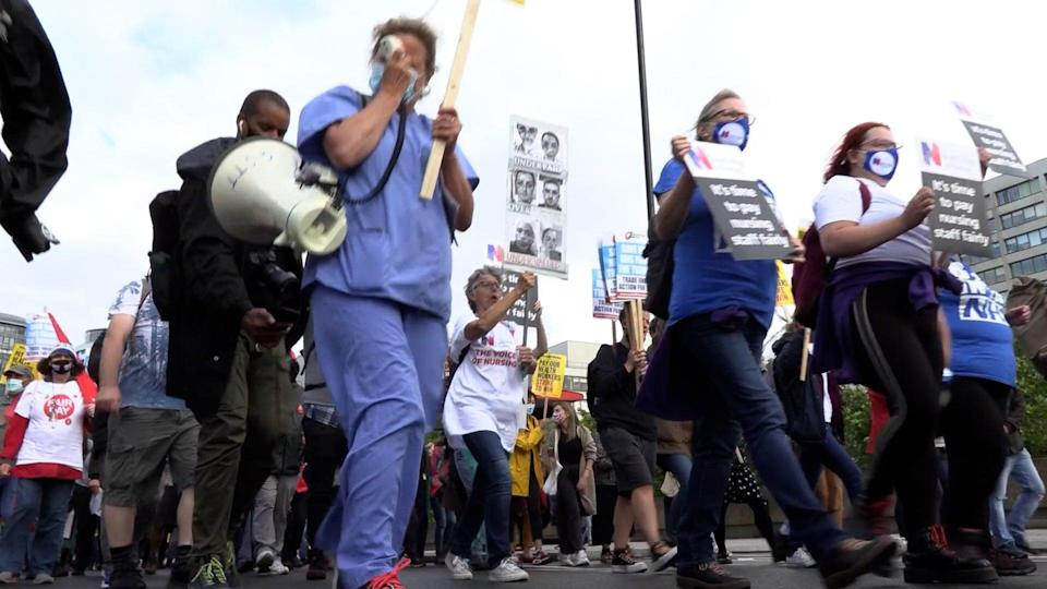 Health workers march to Downing Street (PA Video) (PA Wire)