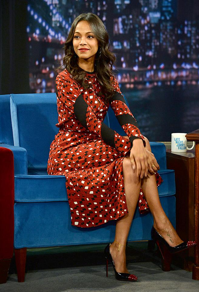"NEW YORK, NY - MAY 17:  Zoe Saldana visits ""Late Night With Jimmy Fallon"" at Rockefeller Center on May 17, 2013 in New York City.  (Photo by Theo Wargo/Getty Images)"