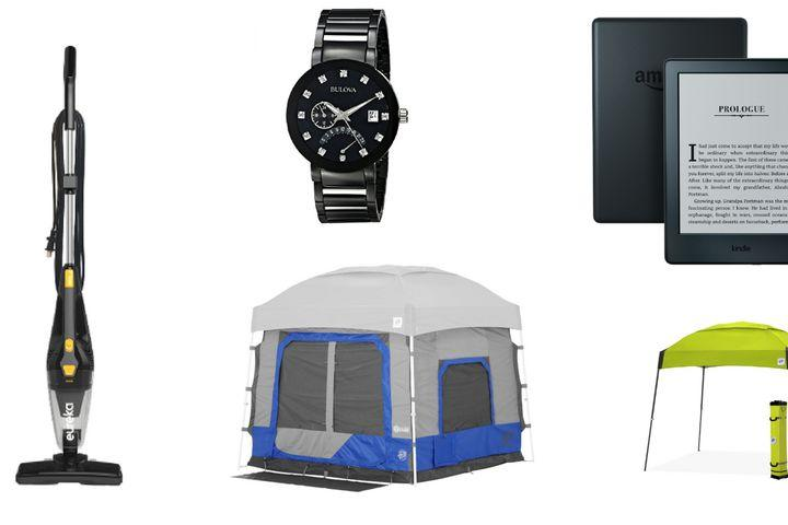 """<img alt=""""""""/><p>Father's Day is fast approaching, so if you haven't done your shopping yet, check out Amazon's deals on <a rel=""""nofollow"""" href=""""https://zdcs.link/a5GDx"""">premium brand watches</a> to decorate his wrist and cover your butt.</p> <div><p>SEE ALSO: <a rel=""""nofollow"""" href=""""https://mashable.com/2018/05/22/best-fathers-day-gifts-from-daughter/?utm_campaign=Mash-BD-Synd-Yahoo-Lifestyle-Full&utm_cid=Mash-BD-Synd-Yahoo-Lifestyle-Full"""">Best Father's Day gifts from a daughter</a></p></div> <p>There are also great deals on Amazon devices like the <a rel=""""nofollow"""" href=""""https://zdcs.link/z67dl"""">Kindle Paperwhite</a> for summer reading (or if your dad is a book buff). You can also shop discounts on <a rel=""""nofollow"""" href=""""https://zdcs.link/Q4xJL"""">canopies</a> and <a rel=""""nofollow"""" href=""""https://zdcs.link/aRbBy"""">tents</a> for all those camping trips you're planning. There are even great deals on vacuums from brands like <a rel=""""nofollow"""" href=""""https://zdcs.link/a0pqN"""">Dirt Devil</a>, <a rel=""""nofollow"""" href=""""https://zdcs.link/aBRO1"""">Black+Decker</a>, and <a rel=""""nofollow"""" href=""""https://zdcs.link/aopAL"""">SharkNinja</a>.</p> <p>Shop Amazon's best hump day deals below:</p> <p><img title=""""You can pack as many books as you want when you travel with an e-reader."""" alt=""""You can pack as many books as you want when you travel with an e-reader.""""></p> <p>You can pack as many books as you want when you travel with an e-reader.</p><div><p>Image:  Amazon</p></div><h2>Amazon devices</h2> <p><a rel=""""nofollow"""" href=""""https://zdcs.link/z67dl"""">Kindle Paperwhite E-reader</a> — $89.99 (list price $119.99)</p> <p><a rel=""""nofollow"""" href=""""https://zdcs.link/aNbNy"""">Kindle E-reader - Black</a> — $49.99 (list price $79.99)</p> <p><a rel=""""nofollow"""" href=""""https://zdcs.link/9ZpYm"""">Certified Refurbished Echo Plus with built-in Hub – Silver</a> — $109.99 (list price $129.99)</p> <p><a rel=""""nofollow"""" href=""""https://zdcs.link/9lk6r"""">Certified Refurbished Fire TV with 4K Ultra HD and Alexa Voice Remote (Pe"""