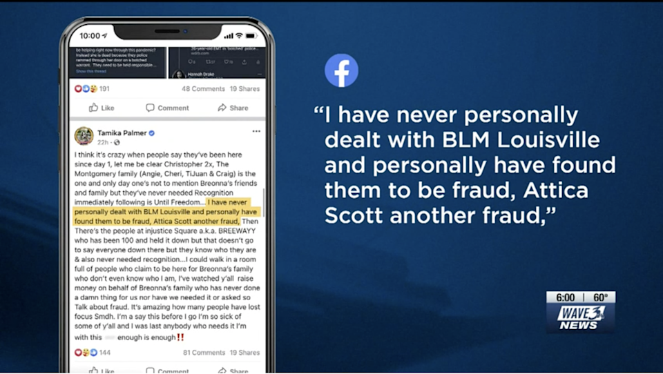 A screenshot captured by WAVE 3 News shows a since-removed Facebook post by Tamika Palmer, the mother of Breonna TaylorWAVE 3 News