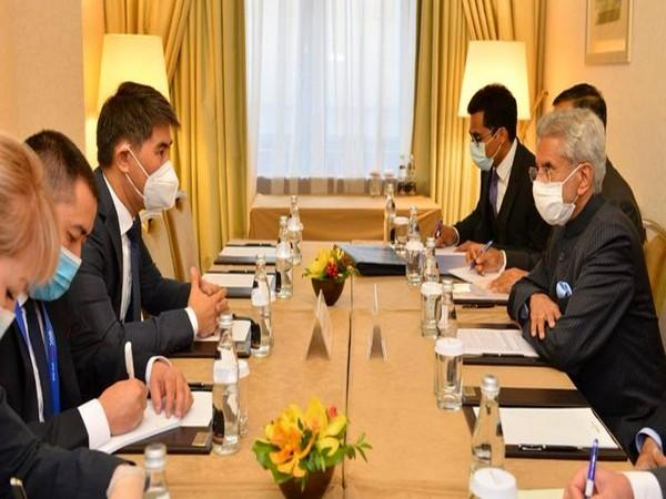 External Affairs Minister S Jaishankar with his Kyrgyz counterpart Chingiz Aidarbekov in Moscow on Wednesday. (Photo source: Jaishankar Twitter)