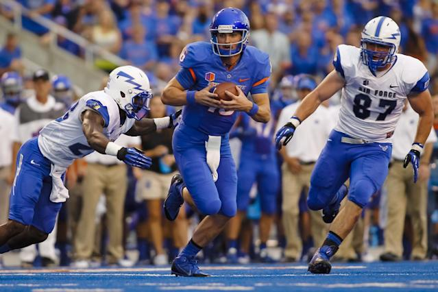 Boise State quarterback Joe Southwick (16) runs the ball during the first half of an NCAA college football game against Air Force in Boise, Idaho, Friday, Sept. 13, 2013. (AP Photo/Otto Kitsinger)