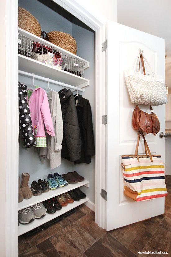 "<p>Large purses and totes can take up a lot of precious closet real estate. To keep them off the floor and at the ready, hang bags from hooks installed on the inside of your door. Still short on storage space? Stash swimsuits or miscellaneous accessories inside. </p><p>See more at <a href=""https://howtonestforless.com/organized-coat-closet-makeover/"" rel=""nofollow noopener"" target=""_blank"" data-ylk=""slk:How To Nest For Less"" class=""link rapid-noclick-resp"">How To Nest For Less</a>. </p>"