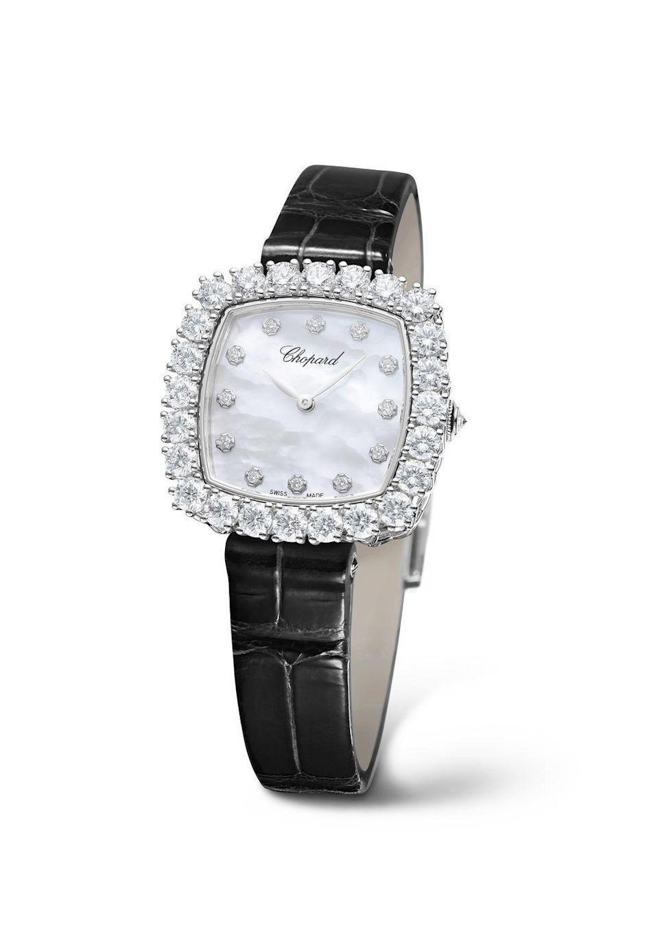 "<p><a class=""link rapid-noclick-resp"" href=""https://www.chopard.com/uk/watches/watches-for-her/diamond-watches"" rel=""nofollow noopener"" target=""_blank"" data-ylk=""slk:SHOP NOW"">SHOP NOW</a></p><p>Looking for something altogether dressier? Chopard's L'Heure du Diamant watches are the ultimate in bejwelled bracelet watches, and its latest cushion-shaped edition is no exception. </p><p>Its ethically sourced white gold case has a shimmering mother-of-pearl dial and is framed with white diamonds. </p><p>L'Heure du Diamant watch, £48,100, <a href=""https://www.chopard.com/uk/watches/watches-for-her/diamond-watches"" rel=""nofollow noopener"" target=""_blank"" data-ylk=""slk:Chopard"" class=""link rapid-noclick-resp"">Chopard</a></p>"