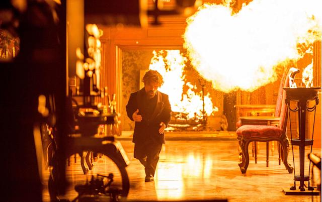 Peter Dinklage on the fiery Doritos Blaze set. (Photo: Courtesy of PepsiCo)
