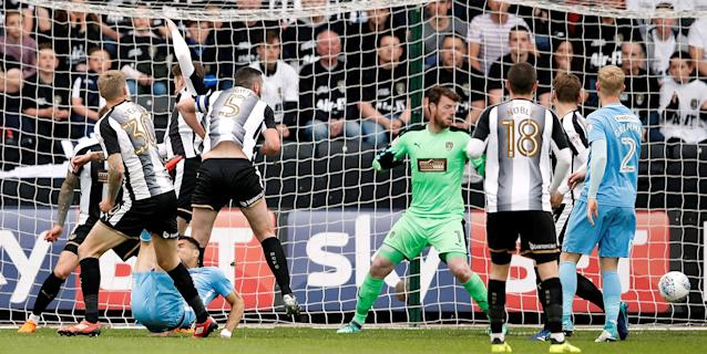 "Soccer Football - League Two Play Off Semi Final Second Leg - Notts County vs Coventry City - Meadow Lane, Nottingham, Britain - May 18, 2018 Coventry City's Maxime Biamou scores their first goal Action Images/Carl Recine EDITORIAL USE ONLY. No use with unauthorized audio, video, data, fixture lists, club/league logos or ""live"" services. Online in-match use limited to 75 images, no video emulation. No use in betting, games or single club/league/player publications. Please contact your account representative for further details."