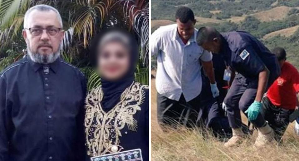 Kiwi man Muhammad Raheesh Isoof, 62, who was charged with mysterious Fiji deaths, and men carrying body up hill.