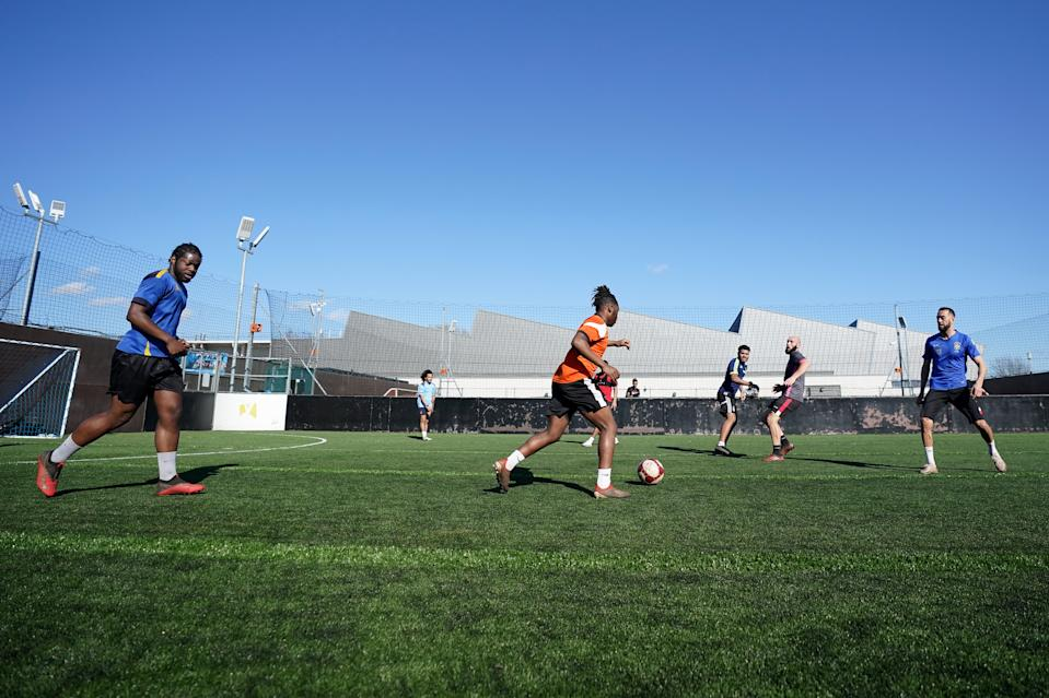 Players in action at Astro Kings 5-a-side football venue in Bilborough, Nottingham, following the easing of England's lockdown to allow far greater freedom outdoors. Picture date: Monday March 29, 2021.
