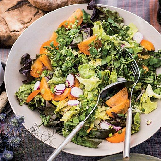 """<p>This terrific, wine-friendly salad features a mix of persimmons, radishes, scallions and butter lettuce tossed with a warm pumpkin seed dressing.</p><p><a href=""""https://www.foodandwine.com/recipes/butter-lettuce-salad-persimmons-and-radishes"""">GO TO RECIPE</a></p>"""