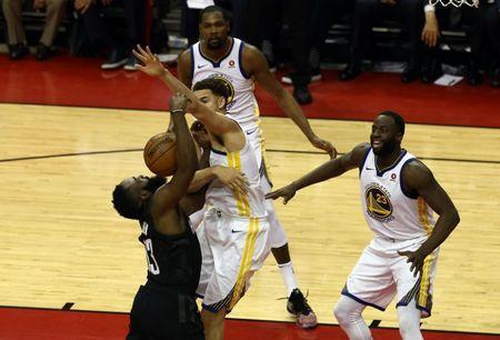 May 24, 2018; Houston, TX, USA; Houston Rockets guard James Harden (13) shot is blocked by Golden State Warriors guard Klay Thompson (11) during the third quarter in game five of the Western conference finals of the 2018 NBA Playoffs at Toyota Center. Mandatory Credit: John Glaser-USA TODAY Sports
