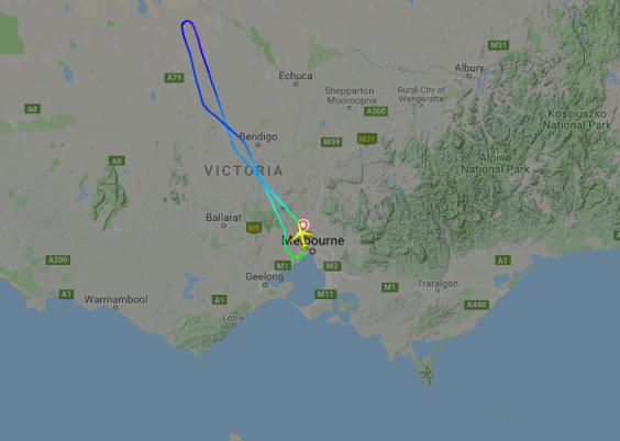 The plane was forced to return to Melbourne (Flightradar24)