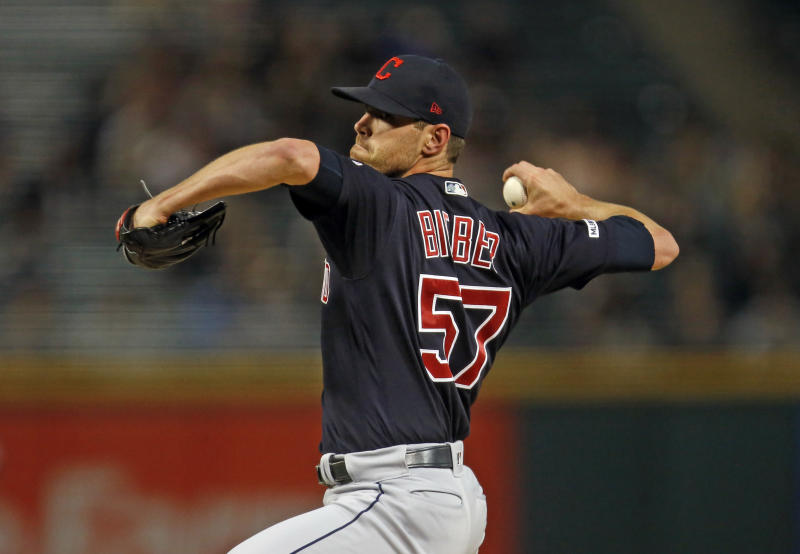 CHICAGO, ILLINOIS - SEPTEMBER 25: Shane Bieber #57 of the Cleveland Indians pitches in the first inning during the game against the Chicago White Sox at Guaranteed Rate Field on September 25, 2019 in Chicago, Illinois. (Photo by Nuccio DiNuzzo/Getty Images)