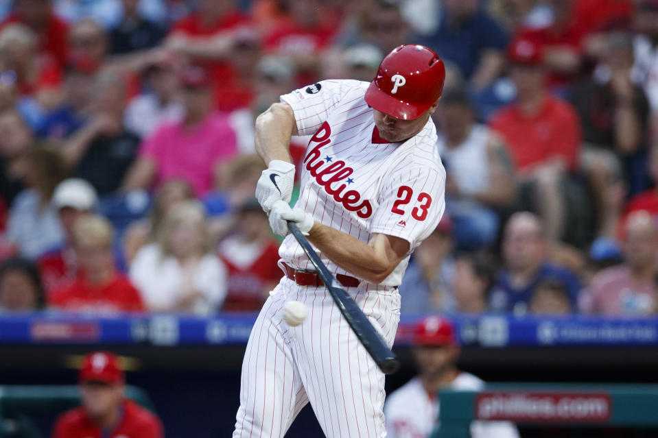 Philadelphia Phillies' Jay Bruce flies out during the second inning of the team's baseball game against the Cincinnati Reds, Friday, June 7, 2019, in Philadelphia. (AP Photo/Matt Slocum)