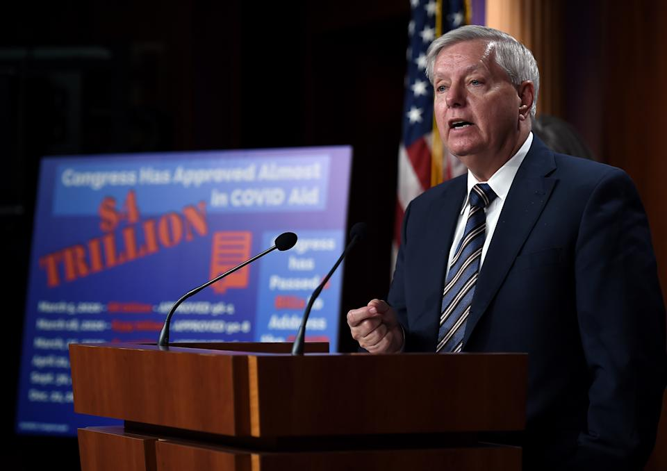 Senator Lindsey Graham (R-SC) speaks during a news conference as the Senate continues to debate the latest Covid-19 relief bill, at the US Capitol in Washington, DC on March 5, 2021. (Photo by OLIVIER DOULIERY / AFP) (Photo by OLIVIER DOULIERY/AFP via Getty Images)