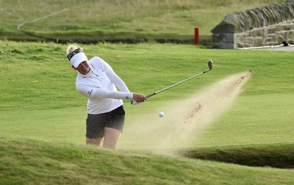 Nanna Koerstz Madsen shanked her bunker shot on the 18th during day four of the AIG Women's Open at Carnoustie. (PA Wire)