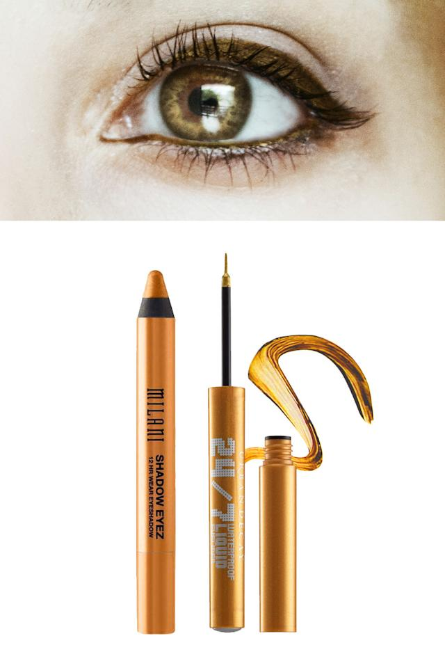 "<p>A warm metallic gold will accentuate the yellow flecks around the inner part of the iris, making them shimmer and your eyes look even brighter.</p><p>Try: <a rel=""nofollow"" href=""http://www.cocktailcosmetics.co.uk/prod/milani-shadow-eyez-eye-shadow-pencil?utm_source=Google+Shopping&utm_medium=referral&utm_term=Milani+Shadow+Eyez+Eye+Shadow+Pencil+-+Eye+Liner&utm_campaign=Google+Shopping"">Milani Shadow Eyez Eye Shadow Pencil,</a> £5 and <a rel=""nofollow"" href=""http://www.urbandecay.co.uk/en_GB/eyes/eyeliner/24-7/305.html"">Urban Decay's 24/7 Waterproof Liquid Eyeliner in Eldorado,</a> £14.50. </p>"