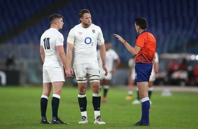 Referee Pascal Gauzere (right) whistled England off the park against Wales