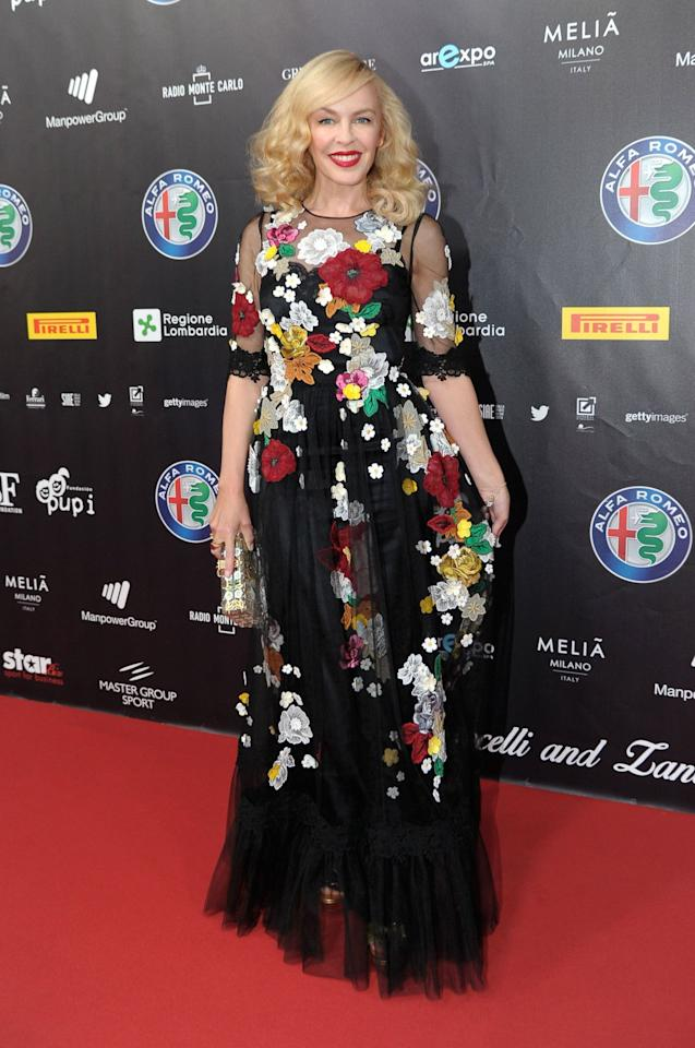 <p>Kylie dressed to impress in this exquisite Dolce & Gabbana number this week. Not everyone was won over by it but we reckon it was a brave choice for the star - and one that we applaud her for. <i>[Photo: Rex Features]</i></p>