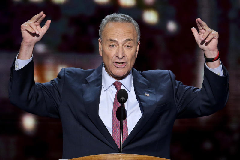 Sen. Chuck Schumer of New York addresses the Democratic National Convention in Charlotte, N.C., on Wednesday, Sept. 5, 2012. (AP Photo/J. Scott Applewhite)