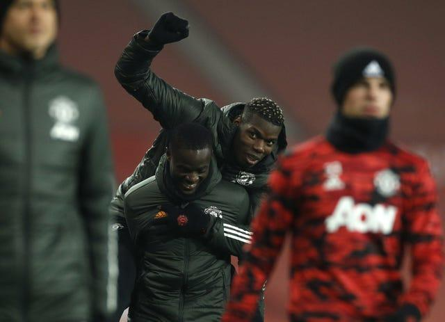Paul Pogba enjoys a piggyback from team-mate Eric Bailly ahead of Manchester United's record-equalling victory over Southampton in early February. The light-hearted pair were not needed for the game, remaining unused substitutes as Ole Gunnar Solskjaer's men ran out resounding 9-0 winners at Old Trafford. The remarkable scoreline matched United's victory over Ipswich in 1995, as well as Saints' home loss to Leicester the previous season