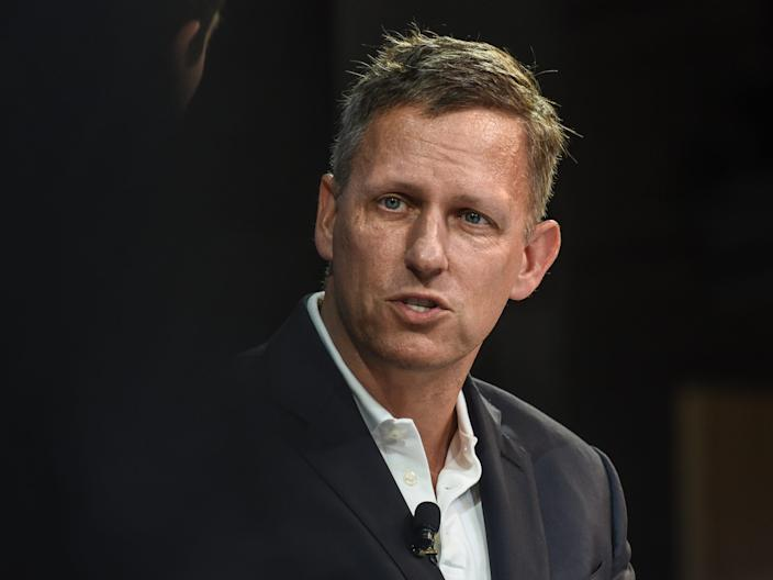 NEW YORK, NY - NOVEMBER 01: Peter Thiel, Partner, Founders Fund, speaks at the New York Times DealBook conference on November 1, 2018 in New York City.