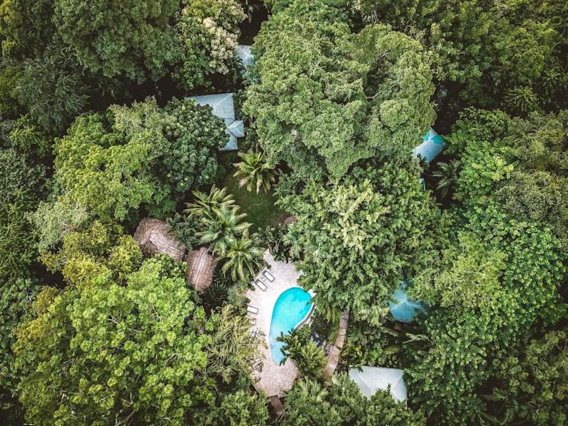 An aerial view of Copal Tree in Belize, which is a beautiful pioneer in sustainable hospitality.