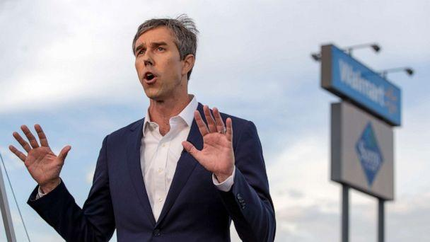PHOTO: Presidential candidate Beto O'Rourke speaks with the media outside the Walmart store in the aftermath of a mass shooting in El Paso, Texas, Aug. 4, 2019. (Andres Leighton/AP)