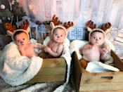 The identical triplets with be celebrating their first Christmas with their older sister and parents (Summer Preston/PA)