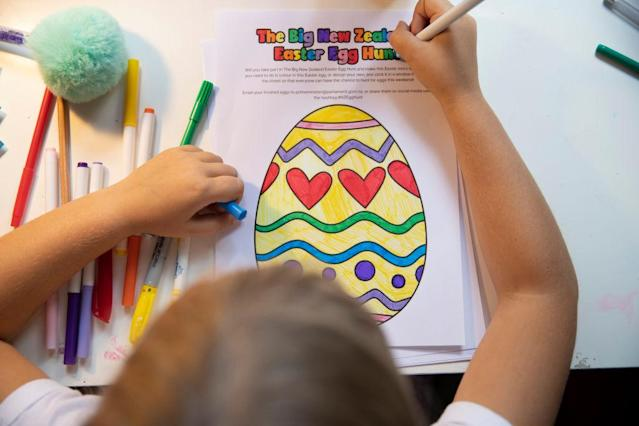 Children in New Zealand are also being asked to take part in an Easter Egg hunt by colouring pictures of eggs. (Getty Images)