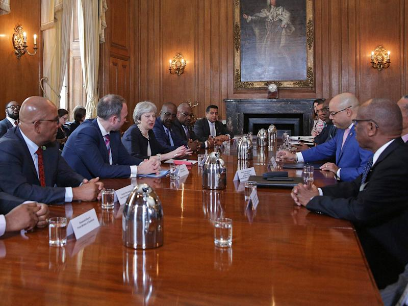Prime Minister Theresa May hosts a meeting with leaders and representatives of Caribbean countries, at 10 Downing Street on the sidelines of the Commonwealth Heads of Government meeting: AFP/Getty