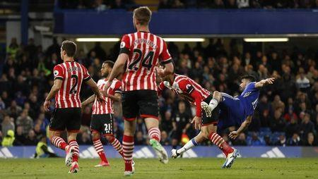 Britain Football Soccer - Chelsea v Southampton - Premier League - Stamford Bridge - 25/4/17 Chelsea's Diego Costa scores their fourth goal Action Images via Reuters / John Sibley Livepic