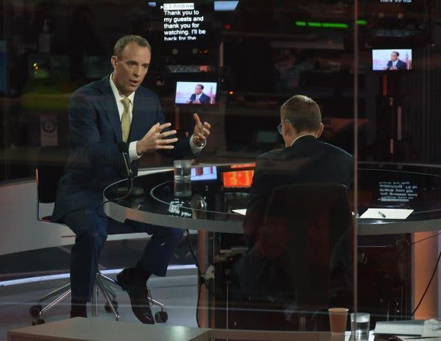 Andrew Marr, right, interviewing Foreign Secretary Dominic