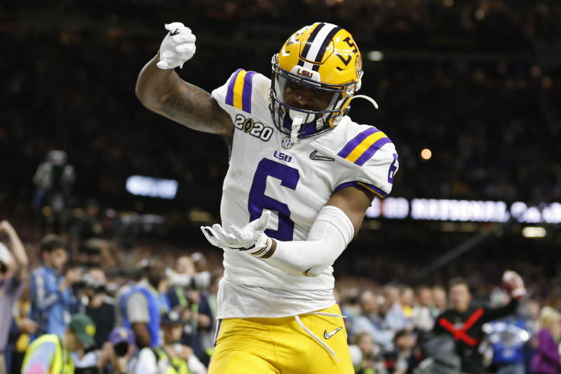 LSU wide receiver Terrace Marshall Jr. celebrates after scoring a touchdown against Clemson during the second half of a NCAA College Football Playoff national championship game Monday, Jan. 13, 2020, in New Orleans. (AP Photo/Gerald Herbert)