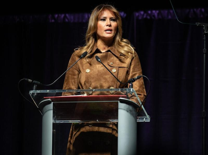 First lady Melania Trump speaking in Baltimore on Tuesdayy | NICHOLAS KAMM/AFP/Getty