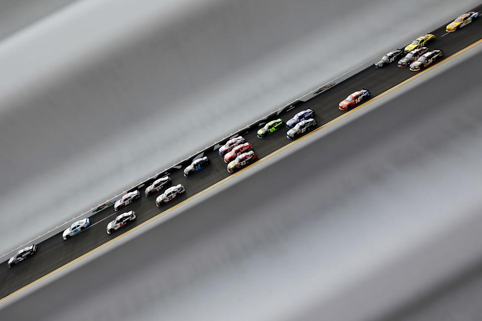 DAYTONA BEACH, FL - FEBRUARY 25: Austin Dillon, driver of the #3 AdvoCare Chevrolet, leads a pack of cars during the NASCAR Nationwide Series DRIVE4COPD 300 at Daytona International Speedway on February 25, 2012 in Daytona Beach, Florida. (Photo by Streeter Lecka/Getty Images)