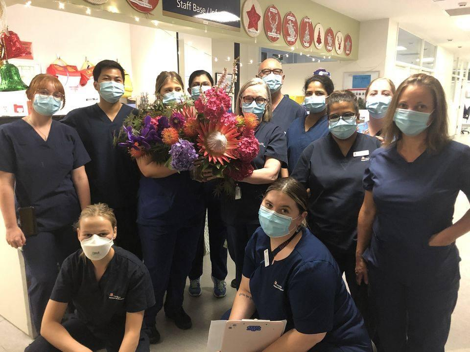 "The nurses said they were ""starstruck"" by the lovely gesture. Photo: Facebook"