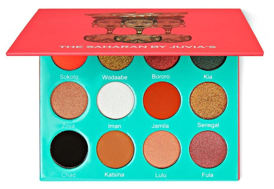"""<strong><h3>Juvia's Place</h3></strong><br>If you want bold, pigmented eyeshadows, Juvia's Place is it — and there are hundreds of YouTube videos to prove it. <a href=""""https://www.refinery29.com/en-us/2016/12/133278/makeup-brand-juvia-eyeshadow-launch"""" rel=""""nofollow noopener"""" target=""""_blank"""" data-ylk=""""slk:Founder Chichi Eburu"""" class=""""link rapid-noclick-resp"""">Founder Chichi Eburu</a>, who hails from West Africa, wanted to offer pigments that popped on deep skin tones in packaging that felt as bright, vibrant, and celebratory as the shades inside Multiple sold-out collections and tagged posts later, and the brand is ubiquitous with online makeup tutorials.<br><br><strong>Juvia's Place</strong> The Saharan Palette, $, available at <a href=""""https://go.skimresources.com/?id=30283X879131&url=https%3A%2F%2Fwww.juviasplace.com%2Fcollections%2Feyeshadow-palettes%2Fproducts%2Fthe-saharan-palette"""" rel=""""nofollow noopener"""" target=""""_blank"""" data-ylk=""""slk:Juvia's Place"""" class=""""link rapid-noclick-resp"""">Juvia's Place</a>"""