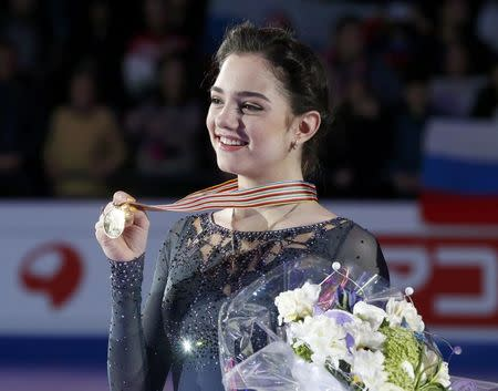 Figure Skating - ISU World Championships 2017 - Ladies Victory Ceremony - Helsinki, Finland - 31/3/17 - Gold medallist Evgenia Medvedeva of Russia attends the ceremony. REUTERS/Grigory Dukor