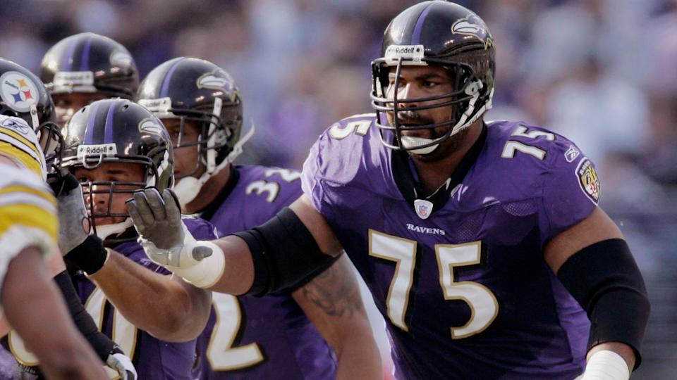 Mandatory Credit: Photo by Chris Gardner/AP/Shutterstock (6032076a)Jonathan Ogden Baltimore Ravens offensive lineman Jonathan Ogden blocks against the Pittsburgh Steelers during the first half of an NFL football game in Baltimore.