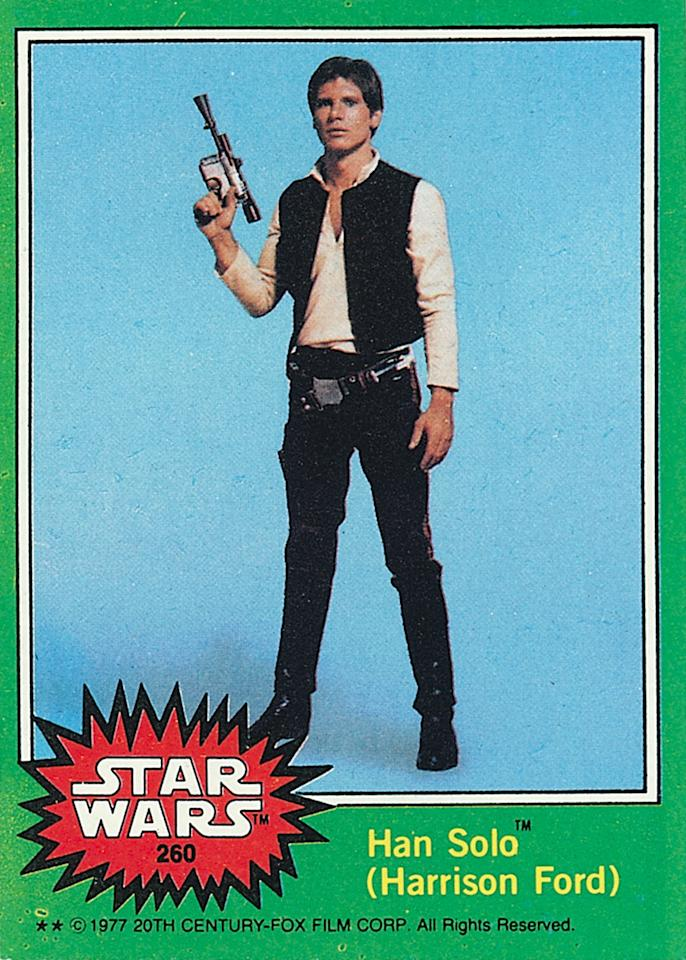 <p>Here's an example of a card made from a publicity still taken before filming, as obvious by Harrison Ford's shorter haircut.<i>(Credit: Abrams ComicArts and Lucasfilm, LTD 2015)</i></p>
