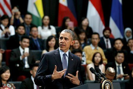 U.S. President Barack Obama participates in a town hall meeting with Young Southeast Asian Leaders Initiative attendees at Taylor's University in Kuala Lumpur