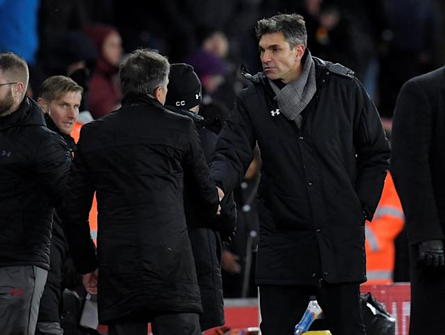 Leicester`s Claude Puel beat his successor as Southampton manager Mauricio Pellegrino 4-1 on his first return to St Mary`s.