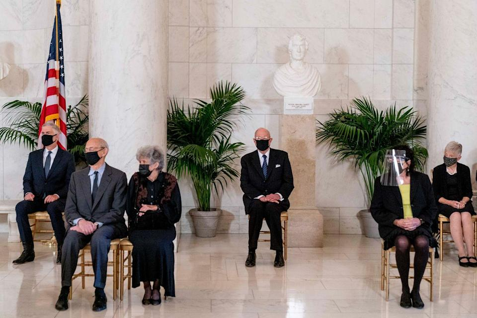 <p>U.S. Supreme Court Justice Neil Gorsuch, Justice Stephen Breyer and his wife Joanna, Retired Justice Anthony Kennedy, Justice Sonia Sotomayor, and Maureen Scalia, the wife of the late Justice Antonin Scalia, attend a private ceremony for Associate Justice Ruth Bader Ginsburg at the U.S. Supreme Court on September 23, 2020 in Washington, DC.</p>
