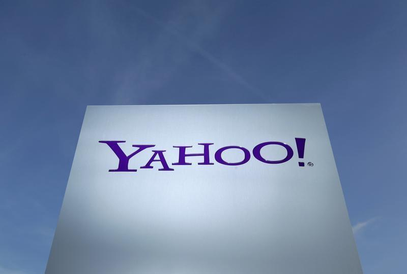 A Yahoo logo is pictured in front of a building in Rolle
