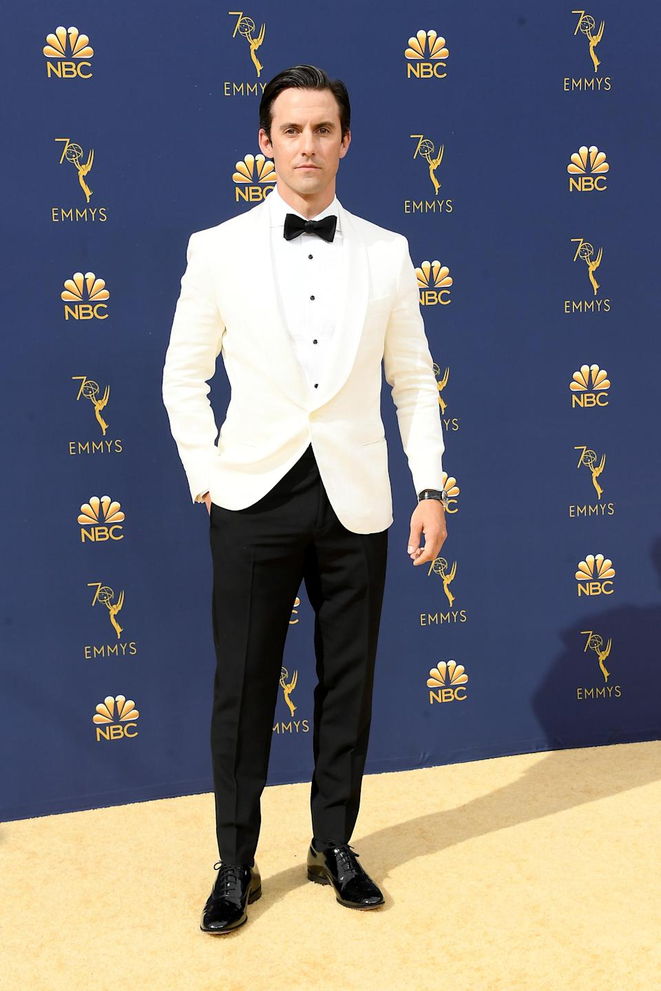 <p>Ventimiglia looked cool and classic in a white suit jacket with black buttons and a bow tie. (Photo: Getty Images) </p>